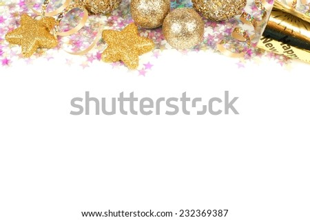 New Years Eve border of confetti and golden decorations on a white background - stock photo