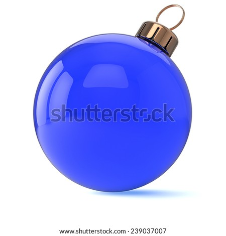 New Years Eve Christmas ball ornament blue cyan decoration wintertime bauble icon traditional. Shiny Merry Xmas winter holidays symbol blank. 3d render isolated on white background - stock photo