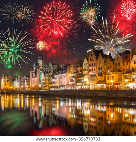 New Years firework display in Gdansk, Poland - stock photo