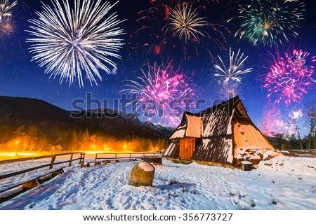 New Years firework display in Tatra mountains, Zakopane - stock photo