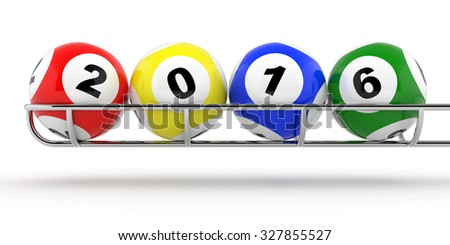 New Years 2016 lottery balls 3d render - stock photo