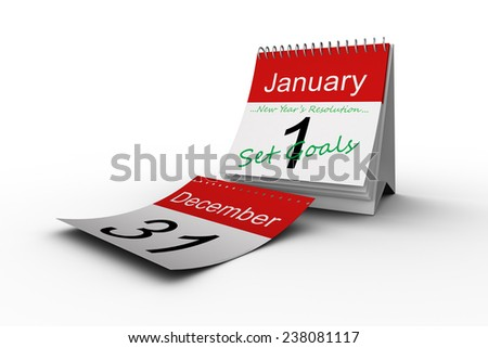 new years resolution against december page falling from calendar - stock photo