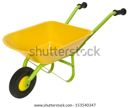 New yellow and green wheelbarrow isolated on a white background. Clipping path included. - stock photo