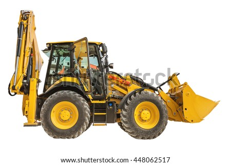 New yellow bulldozer isolated on a white background - stock photo