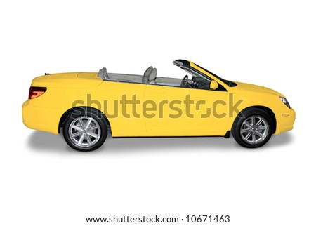 New yellow convertible car isolated on a white background. A shadow is drawn in under the car. Two clipping paths included. One for the entire car and one for just the body paint. - stock photo
