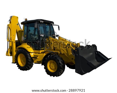 New yellow tractor isolated on pure white - stock photo