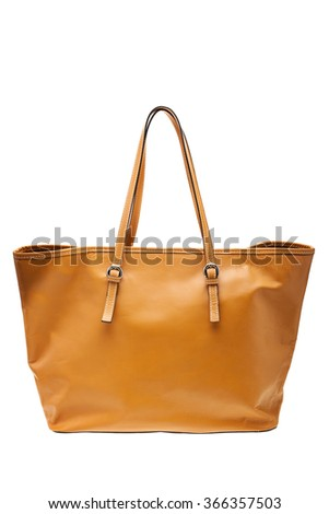 New yellow womens bag isolated on white background. - stock photo