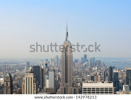New York aerial skyline from the top of the observation deck on Rockefeller center. - stock photo