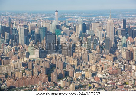 New York Aerial View from Helicopter, Cityscape and Skyscrapers - stock photo