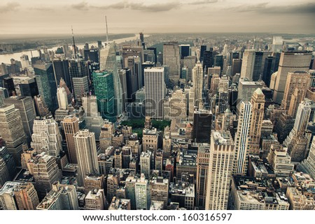 New York. Aerial view of Bryant Park and Midtown skyscrapers at summer sunset. - stock photo