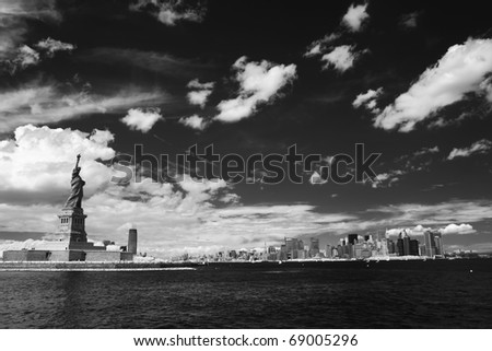 New york and Statye of Liberty in black and white - stock photo