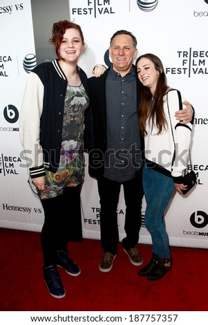 "NEW YORK-APR 16: (L-R) Isabella Hatkoff, Craig Hatkoff and Juliana Hatkoff at the premiere of ""Time Is Illmatic"" at the 2014 TriBeCa Film Festival at Beacon Theatre on April 16, 2014 in New York City. - stock photo"