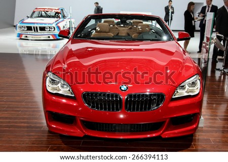 NEW YORK - APRIL 1: BMW exhibit 2016 BMW 640i xDive convertible  model at the 2015 New York International Auto Show during Press day,  public show is running from April 3-12, 2015 in New York, NY. - stock photo