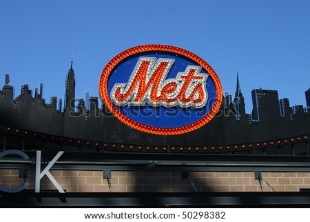 NEW YORK - APRIL 5: Classic New York Mets logo, carried over to Citi Field from old Shea Stadium, on top of the Shake Shack on April 5, 2009 in New York. - stock photo