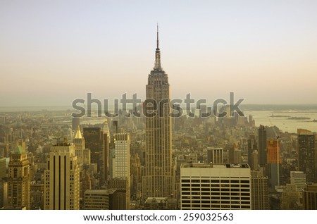 NEW YORK - April 15: Empire State Building on April 15, 2010 in New York, United States. Empire State Building is a skyscraper in New York City, located in the Midtown district of Manhattan. - stock photo