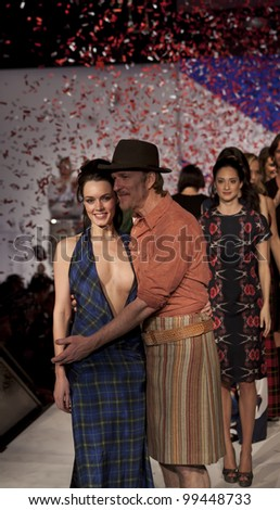 NEW YORK - APRIL 02: Grand finale on runway with Matthew Modine at fashion show From Scotland With Love at The Liberty Theatre on April 2, 2012 in New York City - stock photo
