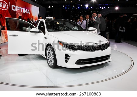 NEW YORK - APRIL 1: KIA exhibit KIA Optima at the 2015 New York International Auto Show during Press day,  public show is running from April 3-12, 2015 in New York, NY. - stock photo