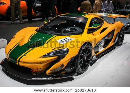 NEW YORK - APRIL 1: McLaren exhibit McLaren P1 at the 2015 New York International Auto Show during Press day,  public show is running from April 3-12, 2015 in New York, NY. - stock photo