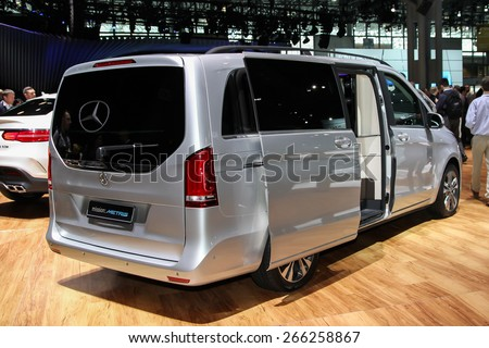 NEW YORK - APRIL 1: Mercedes-Benz  exhibit Mercedes-Benz Metris at the 2015 New York International Auto Show during Press day,  public show is running from April 3-12, 2015 in New York, NY. - stock photo