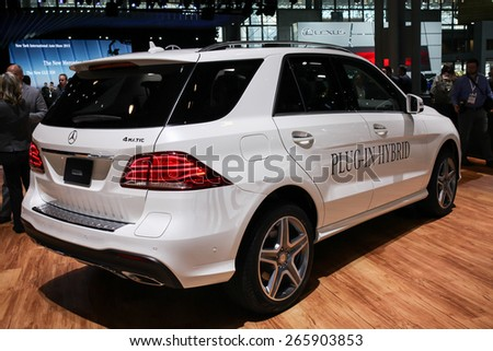 NEW YORK - APRIL 1: Mercedes Benz exhibit New GLE 550e  at the 2015 New York International Auto Show during Press day,  public show is running from April 3-12, 2015 in New York, NY. - stock photo
