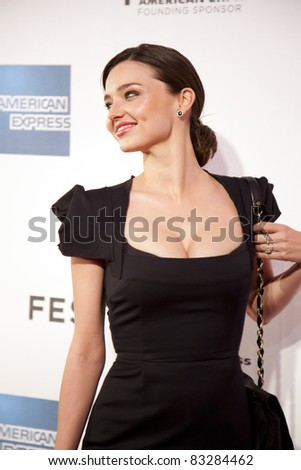 NEW YORK - APRIL 22: Model Miranda Kerr attend the premier of her husband, Orlando Bloom's The Good Doctor at the 2011 Tribeca film festival on April 22, 2011, in New York City. - stock photo
