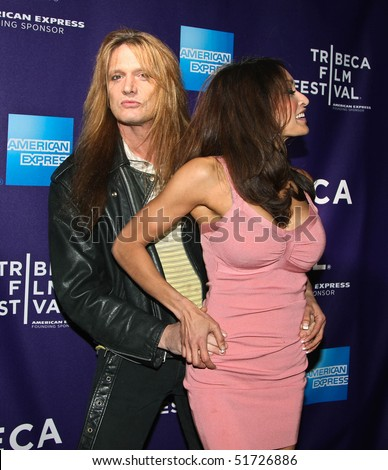 "NEW YORK - APRIL 24: Sebastian Bach and wife, Maria Bierk attend the ""RUSH: Beyond the Lighted Stage"" premiere during the 2010 TriBeCa Film Festival at the School of Visual Arts Theater on April 24, 2010 in New York City. - stock photo"