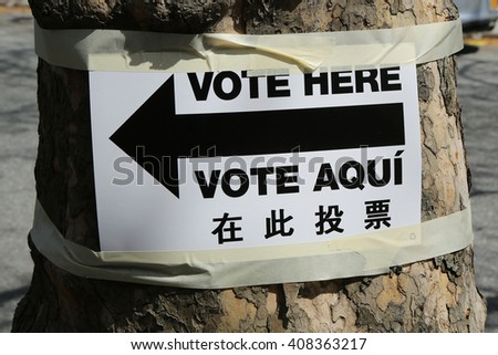 NEW YORK - APRIL 19, 2016: Sign at the voting site in New York.The Voting Rights Act of 1965 is a national legislation in the United States that prohibits discrimination in voting - stock photo