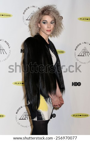 NEW YORK - APRIL 10, 2014: St. Vincent attends the Rock and Roll Hall of Fame Induction Ceremony at the Barclays Center on April 10, 2014 in New York City. - stock photo