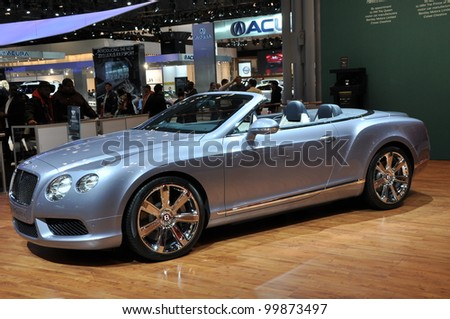 NEW YORK - APRIL 11: The Bentley New Continental GTC V8 at the 2012 New York International Auto Show running from April 6 to April 15, 2012 in New York, NY. - stock photo