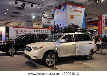 NEW YORK - APRIL 11: Toyota Highlander at the 2012 New York International Auto Show running from April 6-15, 2012 in New York, NY. - stock photo