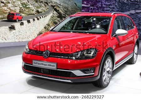 NEW YORK - APRIL 1: Volkswagen exhibit Volkswagen Golf Sport wagen alltrack at the 2015 New York International Auto Show during Press day, public show is running from April 3-12, 2015 in New York, NY. - stock photo