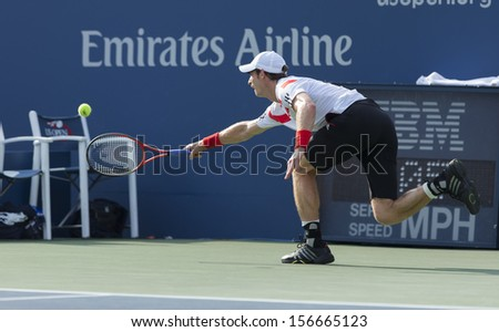 NEW YORK - AUGUST 30: Andy Murray of Great Britain returns ball during 2nd round match against Leonardo Mayer of Argentina at 2013 US Open at USTA Center on August 30, 2013 in New York - stock photo