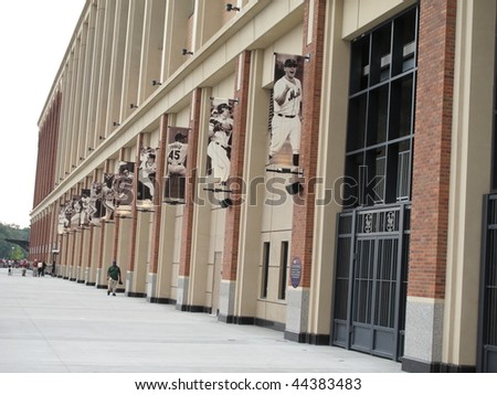 NEW YORK - AUGUST 19: Famous Met ballplayers depicted outside brand new Citi Field before a summer contest on August 19, 2009 in New York. - stock photo