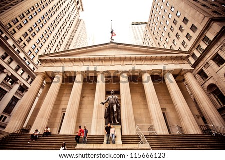 NEW YORK - AUGUST 18 : Federal Hall, built in 1700 , is the site of George Washington's 1789 inauguration as the first President of the United States on August 18, 2012 in New York City, NY. - stock photo