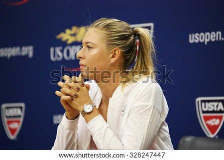 NEW YORK - AUGUST 29, 2015: Five times Grand Slam Champion Maria Sharapova during press conference before US Open 2015. In two days Maria withdraws from US Open with leg injury - stock photo