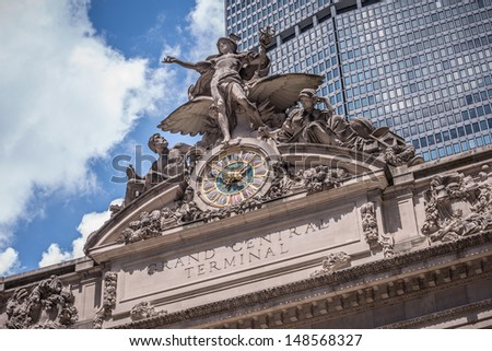NEW YORK - AUGUST 2: Grand Central Station on August 2, 2013 in New York. Grand Central Terminal is a commuter rail terminal station at 42nd Street and Park Avenue in New York City, United States. - stock photo