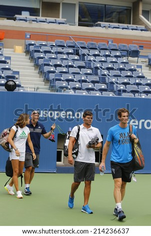 NEW YORK - AUGUST 21: Grand Slam Champion Andy Murray with his team and  coach Amelie Mauresmo ready for practice for US Open 2014 at Arthur Ashe Stadium on August 21, 2014 in New York  - stock photo