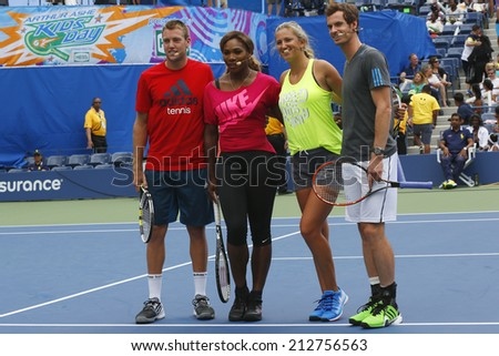 NEW YORK - AUGUST 23  Jack Sock, Serena Williams, Victoria Azarenka and Andy Murray participated at Arthur Ashe Kids Day 2014 at Billie Jean King National Tennis Center on August 23, 2014 in NY  - stock photo