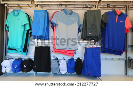 NEW YORK - AUGUST 19: Nike presents new Roger Federer collection  at US Open 2014  at the Billie Jean King National Tennis Center on August 19, 2014 in New York - stock photo