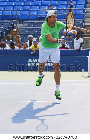 NEW YORK - AUGUST 24 Professional tennis player David Ferrer practices for US Open 2014 at Billie Jean King National Tennis Center on August 24, 2014 in New York - stock photo