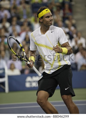 NEW YORK - AUGUST 30: Rafael Nadal of Spain reacts during 1st round match against Andrey Golubev of Kazakhstan at USTA Billie Jean King National Tennis Center on August 30, 2011 in NYC - stock photo