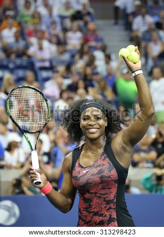 NEW YORK - AUGUST 31, 2015: Twenty one times Grand Slam champion Serena Williams in action during first round match at  US Open 2015 at National Tennis Center in New York - stock photo