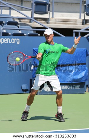 NEW YORK - AUGUST 25, 2015:Two times Grand Slam Champion Lleyton Hewitt of Australia practices for US Open 2015 at Billie Jean King National Tennis Center in New York - stock photo