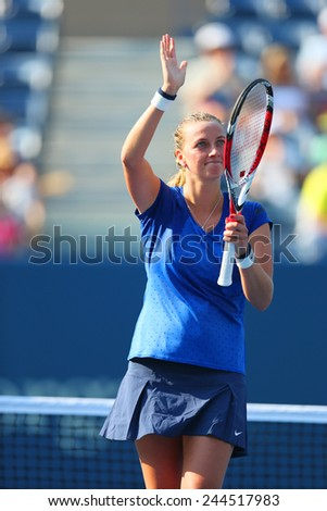 NEW YORK- AUGUST 26: Two times Grand Slam champion Petra Kvitova celebrates victory at US Open 2014 first round match against Kristina Mladenovic at Arthur Ashe stadium on August 26, 2014 in New York  - stock photo