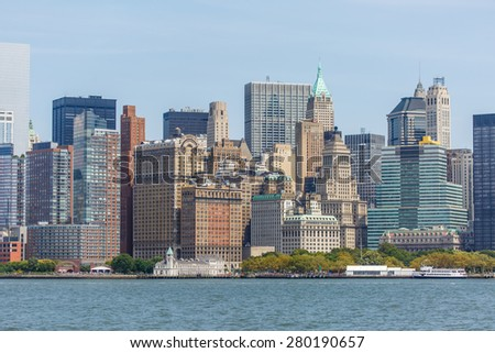 NEW YORK - AUGUST 2014: View of New York City Manhattan skyline on August 11, 2014. Manhattan is the central part of New York. It is one of the leading cultural and economic centers in the world. - stock photo