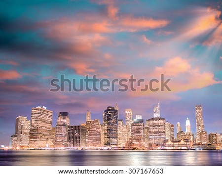 New York by night. - stock photo
