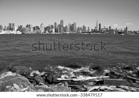 new york ciityscape from hudson river NJ side - stock photo