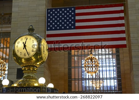 NEW YORK â?? CIRCA APRIL 2015. The Iconic Grand Central Station Clock near the information booth is over 100 yrs old and is a Manhattan landmark, meeting place and filming site of countless movies. - stock photo