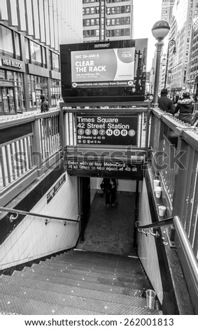 New York, circa dec 2014: times square subway entrance in Manhattan, - stock photo