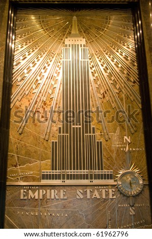 NEW YORK - CIRCA JULY 2009: The Empire State Building entrance hall circa July 2009 in New York City. After the terrorist attack on 9/11/01, this is the tallest building in New York and 3rd in USA. - stock photo